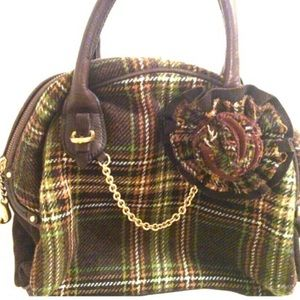 👜 Juicy Couture Plaid Wool Bowler Bag Purse
